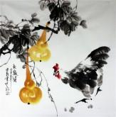 石云轩 国画写意花鸟画 四尺斗方《秋趣图》葫芦鸡5-5
