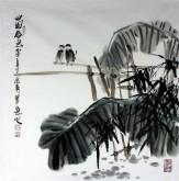 石云轩 国画写意花鸟画 四尺斗方《田园春色》5-6