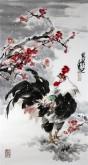 石云轩 国画写意花鸟画 三尺竖幅《大吉大利》红梅花公鸡5-7