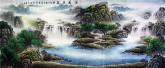 (已售)墨宇(周卡)小八尺横幅国画聚宝盆山水画《源远流长》