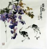 石云轩 国画写意花鸟画 三尺斗方《紫气》紫藤鸟12-29