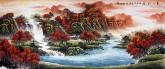 (预定)墨宇(周卡)小八尺横幅国画聚宝盆山水画《万山红遍》