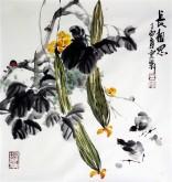 石云轩 国画写意花鸟画 三尺斗方《长相思》丝瓜12-24