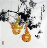石云轩 国画写意花鸟画 四尺斗方《秋晨图》葫芦12-7