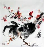 石云轩 国画写意花鸟画 三尺斗方《红梅公鸡》12-14