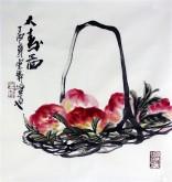 石云轩 国画写意花鸟画 三尺斗方《大寿图》寿桃12-32