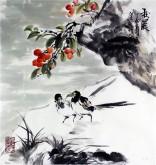 (已售)石云轩 国画写意花鸟画 三尺斗方《秋晨》小果实喜雀12-9