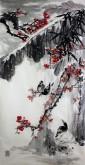 石云轩 国画写意花鸟画 四尺竖幅《报春图》红梅雀鸟12-3