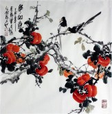 (已售)石云轩 国画写意花鸟画 四尺斗方《事事如意》柿子12-12
