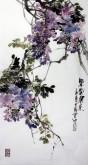 石云轩(广西美协) 三尺竖幅《紫气东来》紫藤13-6