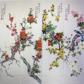 凌雪 国画花鸟四条屏 《春夏秋冬》12-4