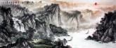 (预定)墨宇(周卡)小八尺 国画聚宝盆山水画《峡江帆影》