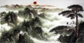(已售)华卧石 国画山水画 四尺横幅《瑞气集门》