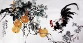 石云轩 国画写意花鸟画 四尺横幅《福禄大吉》葫芦公鸡6-3