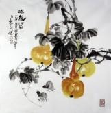 石云轩 国画写意花鸟画 四尺斗方《鸿福图》葫芦小鸡6-5