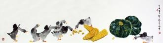 武文博(娄师白艺术研究会会员) 四尺对开 国画写意花鸟画 鸭子南瓜玉米