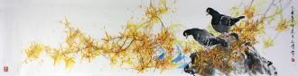 武文博(娄师白艺术研究会会员) 四尺对开 国画写意花鸟画 和平鸽 迎春花