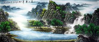 (预定)墨宇(周卡)小八尺横幅 国画聚宝盆山水画《春山叠翠》