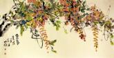 肖映梅(中国美协)国画花鸟画 四尺横幅《紫气东来》紫藤6
