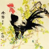 肖映梅(中国美协)国画花鸟画 四尺斗方《大吉》公鸡