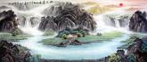 (预定)墨宇(周卡)小八尺 国画聚宝盆山水画《旭日东升》