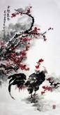 石云轩 国画写意花鸟画 四尺竖幅《金鸡报春》红梅花 公鸡15-2