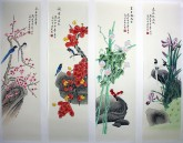 凌雪国画花鸟四条屏《春夏秋冬》