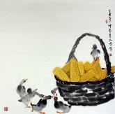 武文博 四尺斗方 国画写意花鸟画 小鸭 玉米