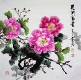 (已售)邵其宏(一级美术师)四尺斗方 国画牡丹《花开富贵》