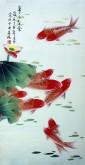 凌雪 三尺竖幅 国画花鸟画《年年有余》荷花鲤鱼18-5