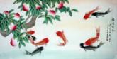 凌雪 四尺横幅 国画工笔寿桃鲤鱼《福寿有余》风水九鱼图18-14
