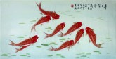 凌雪 三尺横幅 国画工笔鲤鱼《年年有余》九鱼图18-14