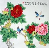 凌雪 四尺斗方 国画工笔牡丹花鸟画《花开富贵》18-27