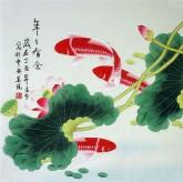 凌雪 四尺斗方 国画荷花鲤鱼《年年有余》18-16
