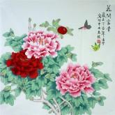 凌雪 四尺斗方 国画工笔牡丹《花开富贵》18-23