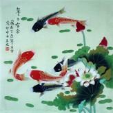 凌雪 四尺斗方 国画荷花鲤鱼《年年有余》18-15