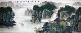 墨宇(周卡)小八尺 国画聚宝盆山水画,《峡江春色》