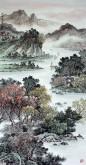 (已售)华卧石 国画山水画 四尺竖幅《峡江帆影》