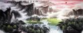 (已售)墨宇(周卡)国画聚宝盆山水画 小六尺横幅 1.8米《旭日东升》
