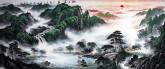(预定)墨宇(周卡)国画聚宝盆山水画 小八尺横幅 2.4米《旭日东升》
