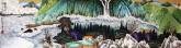(已售)许永华 四尺对开横幅 国画重彩山水画《听涛图》