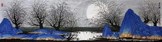 (已售)许永华 四尺对开横幅 国画重彩山水画《月光曲》