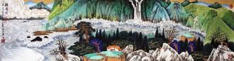 许永华 四尺对开横幅 国画重彩山水画《听涛图》