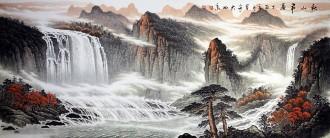 (预定)墨宇(周卡)国画聚宝盆山水画 小八尺横幅 2.4米《秋山飞瀑》