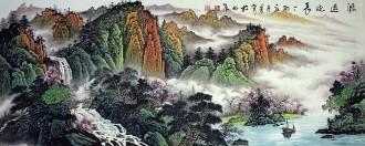 (已售)墨宇(周卡)国画聚宝盆山水画 小六尺横幅 1.8米《源远流长》3