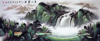 (已售)墨宇(周卡)国画聚宝盆山水画 小六尺横幅 1.8米《春山飞瀑》4