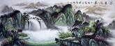 (已售)墨宇(周卡)国画聚宝盆山水画 小六尺横幅 1.8米《源远流长》