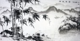 孙福林 国画花鸟画 四尺横幅《竹报平安》竹子 山水画