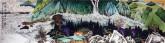 许永华 四尺对开横幅 国画重彩山水画《云泉高峻图》