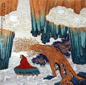 (已售)许永华 四尺斗方 国画重彩山水画《达摩面壁图》